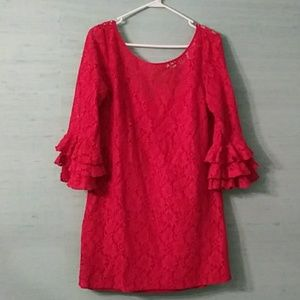 Red lace mini dress with ruffle sleeve